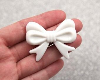 Kawaii Bow Beads - 47mm White Ribbon Resin Beads - 4 pc set