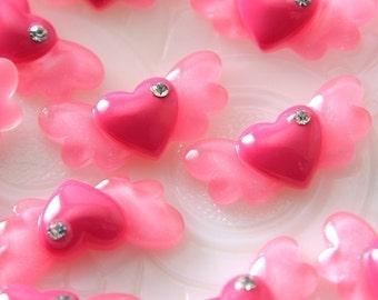 30mm Angel Heart Resin Cabochons - 6 pc set