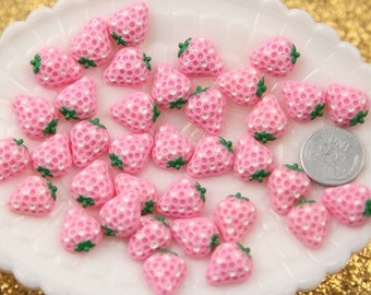 13mm Little Pink Strawberry Resin Cabochons - 8 pc set