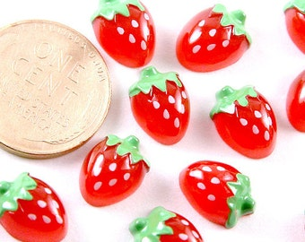 10mm Tiny Strawberry Resin Cabochons - 10 pc set