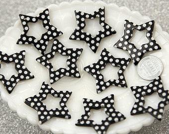Plastic Star Charms - 35mm Black Polka Dot Stars Resin Charms - 6 pc set