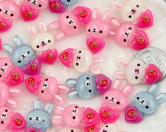 24mm Bunny Loves Strawberry Resin Cabochons - 10 pc set
