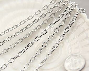 Silver Chain - 7mm Strong Silver Tone Chain - 8 feet / 2.5 meters