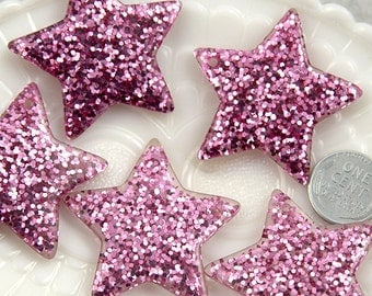 Resin Star Charm - 40mm Pinkish Lavender Glitter Stars Resin Charms - 4 pc set