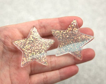 Resin Star Charms - 40mm White Glitter Stars Resin Charms - 4 pc set