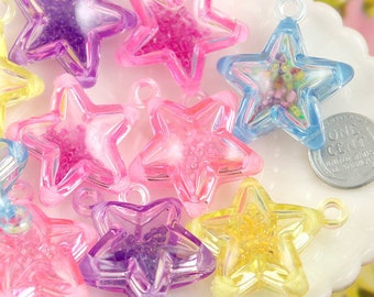Star Charms - 34mm Super Fun Inner Bead Star Plastic Charms or Pendants - 6 pc set