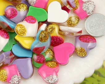 16mm Paradise Glitter Heart Cabochons - 12 pc set