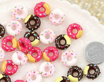 13mm Pink and Chocolate Sprinkles Donut Mix Resin Cabochons - 9 pc set