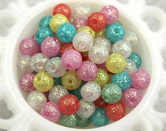 Acrylic Glitter Beads - 12mm Glitter Plastic Beads - 60 pc set