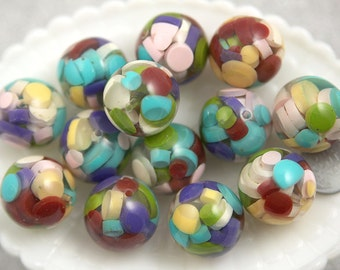25mm Colorful Bubblegum Jello Resin Beads - 6 pc set