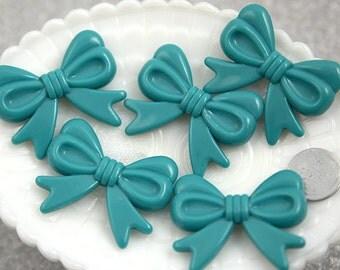 Kawaii Bow Beads - 47mm Teal Blue Ribbon Resin Beads - 4 pc set