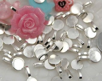 Bails - 18mm Round Silver Color Bails - make cabochons into charms - 10 pc set