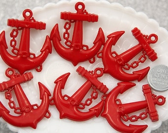 45mm Red Anchor Resin or Acrylic Charms - 5 pc set