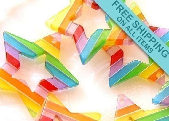 35mm Rainbow Star Resin Pendants - 5 pc set