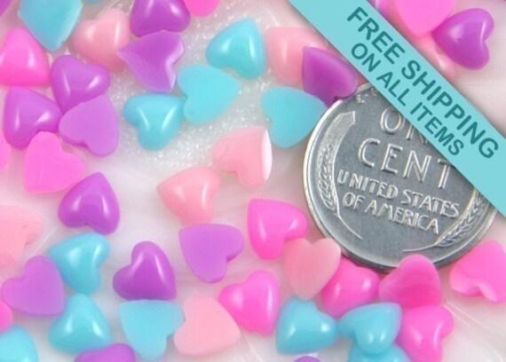 6mm Mini Pastel Heart Resin Cabochons - 50 pc set