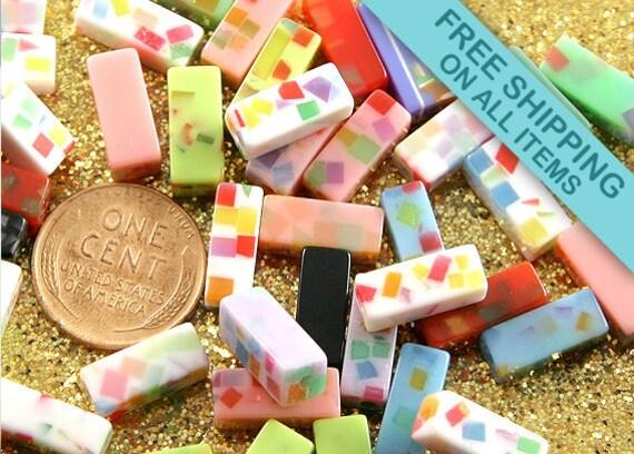 12mm Tutti Frutti Rectangle Resin Beads - 30 pc set
