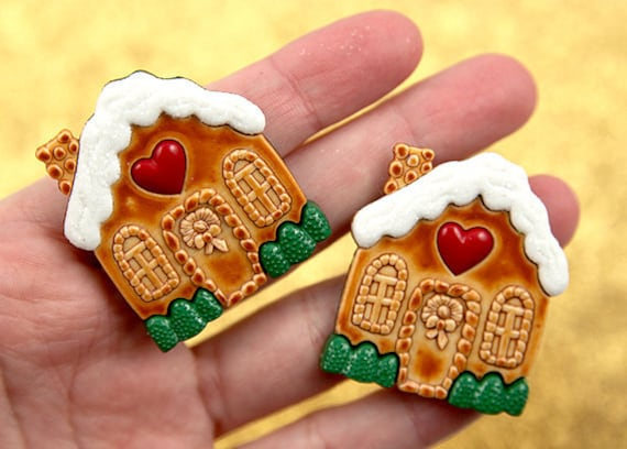 40mm Cute Christmas Gingerbread House Resin Cabochons - 4 pc set