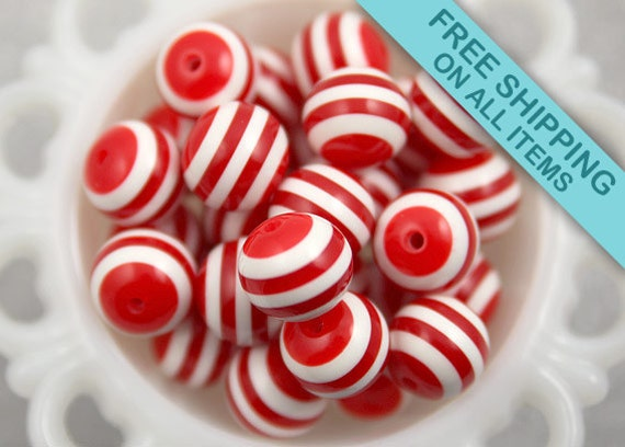 20mm Red and White Stripe Resin Beads - 6 pc set