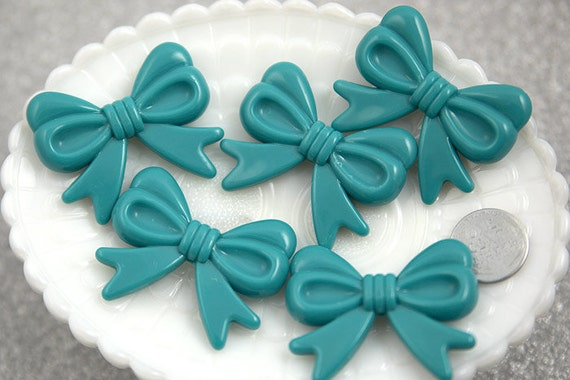 Chunky Beads - 47mm Teal Blue Ribbon Resin Beads - 4 pc set