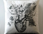 Growing Human Heart silk screened cotton canvas throw pillow 18 inch square