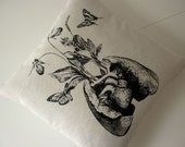 RESERVED FOR CADE AND MISHA Human lung heart growing wild flowers and orchids butterflies silk screened pillow 18 inch BLACK