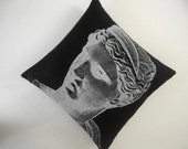 SALE Venus Bust Statue silk screened cotton canvas throw pillow 18 inch black white