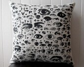 EYE SEE YOU EYE CHART silk screened cotton canvas throw pillow 18 inch square
