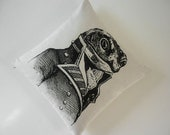 SALE General Toad silk screened cotton canvas throw pillow 18 x 18 inch