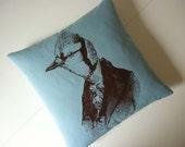 Dandy Jay Bird original silk screened cotton throw pillow 18x18 inches teal blue brown