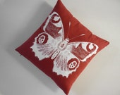 Vintage Butterfly silk screened cotton canvas throw pillow 18 inch red white