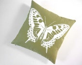 Vintage Butterfly silk screened cotton canvas throw pillow 18 inch apple green white