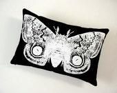 Giant IO Moth silk screened cotton twill throw pillow 18x12 White on Black
