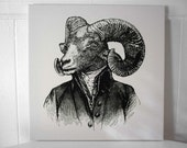 Handsome Ram silk screened cotton canvas wall hanging 18x18 inch