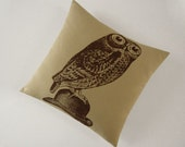 Owl on Bowler silk screened cotton canvas throw pillow 18 inch brown on desert