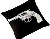 VIntage Gun Revolver silk screened cotton canvas throw pillow 18 inch white on black