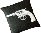 SALE Vintage Colt Revolver white on black bull denim 18 inch