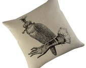 Hooded Falcon on Glove silk screened cotton throw pillow 18 inch