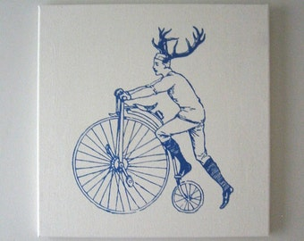 Buck on Bike silk screened cotton canvas wall hanging 18 inch blue