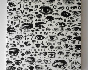 Eye SEE YOU EYE CHART silk screened canvas wall hanging 16 inch