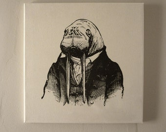 Professor Walrus silk screened cotton canvas wall hanging black natural