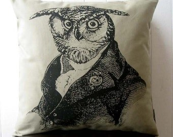 Old Wise Owl silk screened cotton canvas throw pillow 18 inch KHAKI