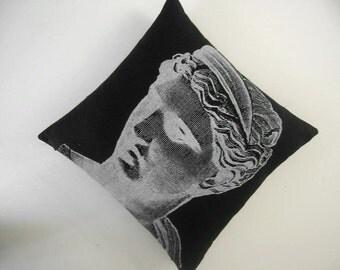 SALE Venus Bust Statue silk screened cotton canvas throw pillow 18 inch black white