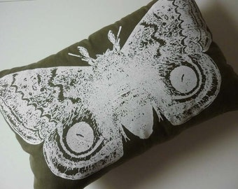 Giant IO Moth silk screened cotton twill throw pillow 18x12 White on Moss