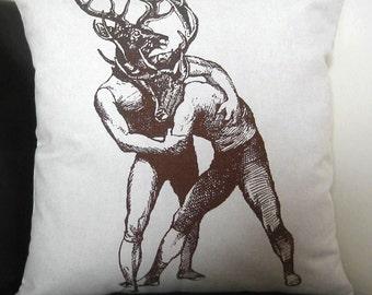 Young Bucks Brawling silkscreened cotton canvas throw pillow 18x18 inches