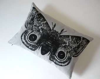 IO Moth silk screened cotton canvas throw pillow 12x18 black on gray