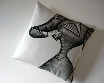 Victorian corset silk screened cotton canvas throw pillow black