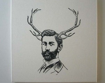 Handsome Young Bearded Buck silk screened natural canvas wall hanging 20 inch black
