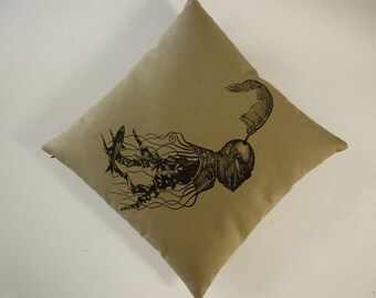 Jellyfish in Armor silkscreened cotton duck canvas throw pillow 18 inch square