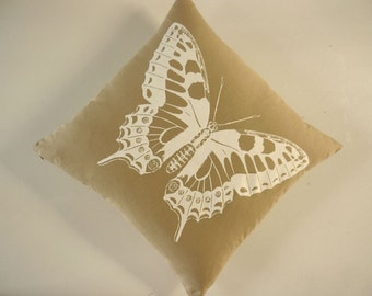 VIntage Butterfly silk screened cotton canvas throw pillow 18x18 desert white