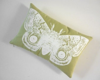 Giant IO Moth silk screened cotton canvas throw pillow toile 18x12 apple green